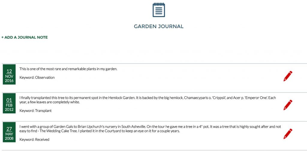 Journal Notes Section of Plant View